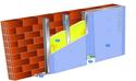 Doublage Placostil® sur montants - support brique isolante 20cm - 1x Placo® Duo'Tech® 25 - 2,55m