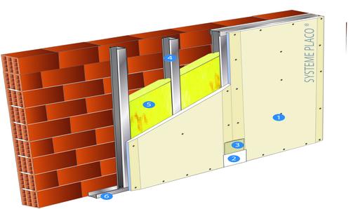 Doublage Placostil® sur montants - support brique isolante 20cm - 1x Placoplatre® BA18S - 3,2m