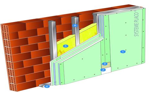 Doublage Placostil® sur montants - support brique isolante 20cm - 3 x Placomarine® BA 13 - 3,95m