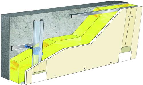 Doublage Placostil® sur appuis et fourrures - support béton 16cm - 1x Placoplatre® BA13 - 5,3m