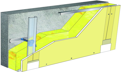 Doublage Placostil® sur appuis et fourrures - support béton 16cm - 1x Placoplatre® BA18S - 3,45m