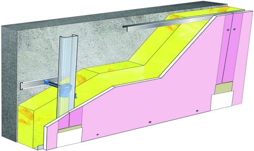 Doublage Placostil® sur appuis et fourrures - support béton 16cm - 1x Placoflam® BA15 - 5,30m