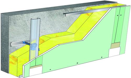 Doublage Placostil® sur appuis et fourrures - support béton 16cm - 1x Placomarine® BA 13 - 5,3m