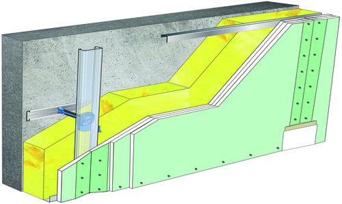 Doublage Placostil® sur appuis et fourrures - support béton 16cm - 3x Placomarine® BA 13 - 5,3m