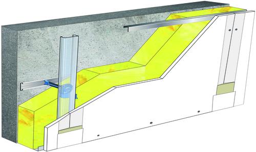 Doublage Placostil® sur appuis et fourrures - support béton 16cm - 1x Placoplatre® BA13 Activ'Air® - 5,3m