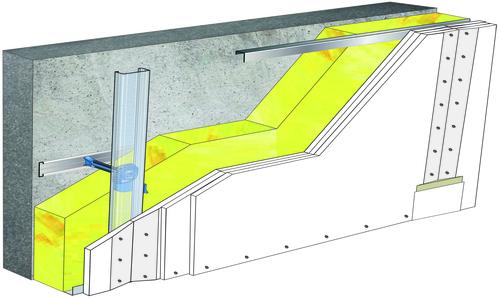 Doublage Placostil® sur appuis et fourrures - support béton 16cm - 3x Placoplatre® BA13 Activ'Air® - 5,3m