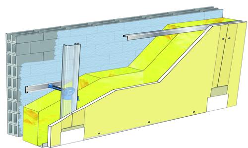 Doublage Placostil® sur appuis et fourrures - support parpaing creux 20 cm - 1x Placoplatre® BA18S - 3,45m