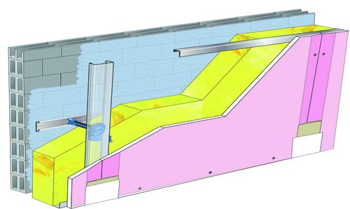 Doublage Placostil® sur appuis et fourrures - support parpaing creux 20 cm - 1x Placoflam® BA15 - 5,30m