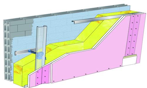 Doublage Placostil® sur appuis et fourrures - support parpaing creux 20 cm - 2x Placoflam® BA15 - 5,3m