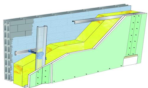Doublage Placostil® sur appuis et fourrures - support parpaing creux 20 cm - 2x Placomarine® BA 13 - 5,3m