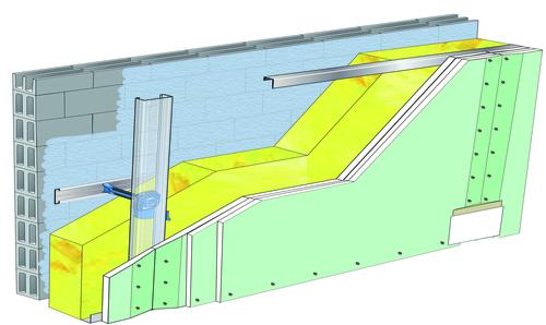 Doublage Placostil® sur appuis et fourrures - support parpaing creux 20 cm - 3x Placomarine® BA 13 - 5,3m