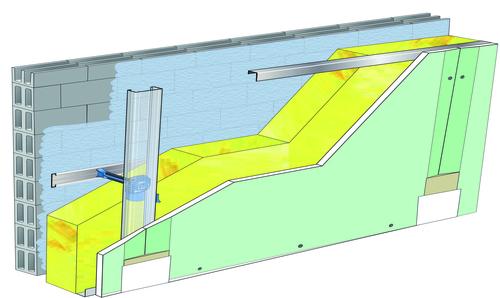 Doublage Placostil® sur appuis et fourrures - support parpaing creux 20 cm - 1x Placoplatre® BA18S Marine - 3,45m