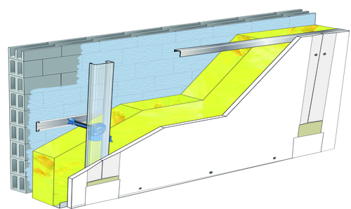 Doublage Placostil® sur appuis et fourrures - support parpaing creux 20 cm - 1x Placoplatre® BA13 Activ'Air® - 5,3m