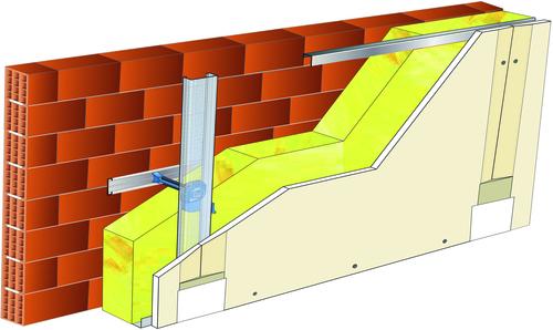 Doublage Placostil® sur appuis et fourrures - support brique isolante 20cm - 1x Placoplatre® BA13 - 5,3m