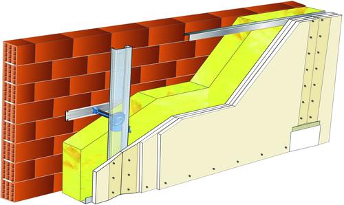 Doublage Placostil® sur appuis et fourrures - support brique isolante 20cm - 3x Placoplatre® BA13 - 5,3m
