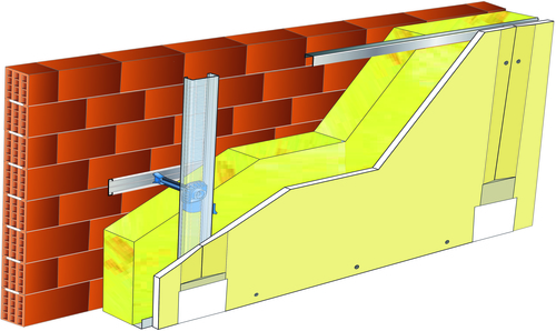 Doublage Placostil® sur appuis et fourrures - support brique isolante 20cm - 1x Placoplatre® BA18S - 3,45m