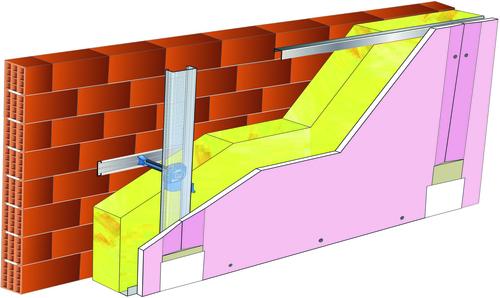 Doublage Placostil® sur appuis et fourrures - support brique isolante 20cm - 1x Placoflam® BA15 - 5,30m