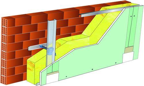 Doublage Placostil® sur appuis et fourrures - support brique isolante 20cm - 1x Placomarine® BA 13 - 5,3m