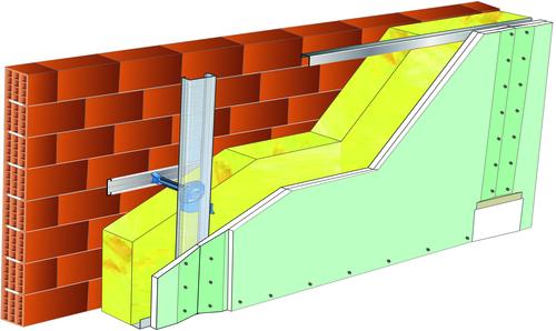 Doublage Placostil® sur appuis et fourrures - support brique isolante 20cm - 2x Placomarine® BA 13 - 5,3m