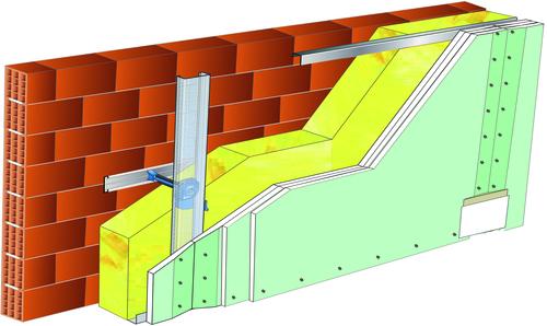Doublage Placostil® sur appuis et fourrures - support brique isolante 20cm - 3x Placomarine® BA 13 - 5,3m