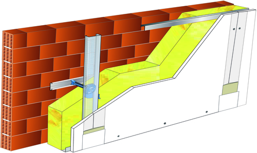 Doublage Placostil® sur appuis et fourrures - support brique isolante 20cm - 1x Placoplatre® BA13 Activ'Air® - 5,3m