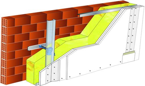 Doublage Placostil® sur appuis et fourrures - support brique isolante 20cm - 3x Placoplatre® BA13 Activ'Air® - 5,3m