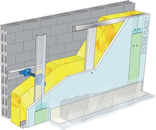 Doublage pour locaux humides - support parpaing creux 20 cm - 2x Glasroc® H Océan 13 - 2,3m