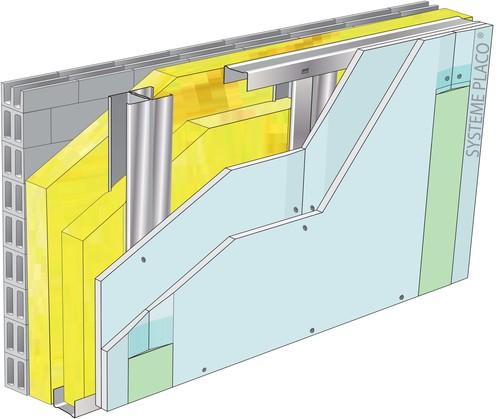 Doublage pour locaux humides - support parpaing creux 20 cm - 2x Glasroc® H Océan 13 - 3,5m