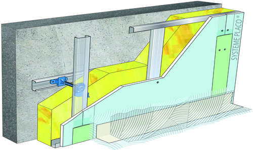 Doublage pour locaux humides - support béton 16cm - 1x Glasroc® H Océan 13 - 2,6m