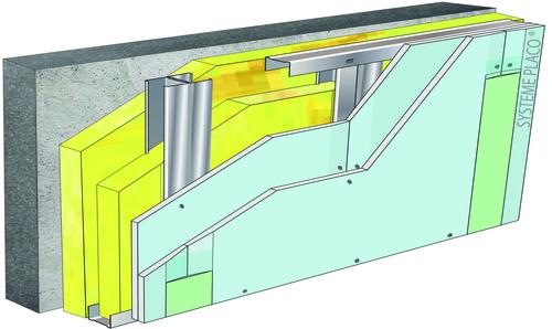 Doublage pour locaux humides - support béton 16cm - 2x Glasroc® H Océan 13 - 3,5m