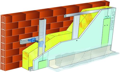 Doublage pour locaux humides - support brique isolante 20cm - 1x Glasroc® H Océan 13 - 2,1m