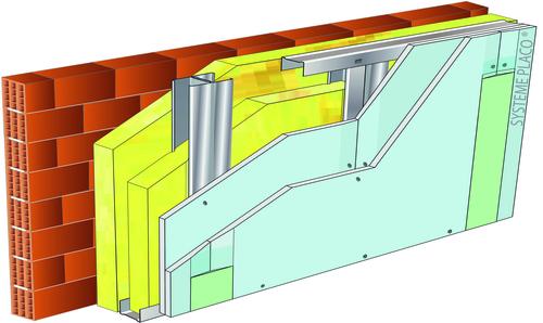 Doublage pour locaux humides - support brique isolante 20cm - 2x Glasroc® H Océan 13 - 4,8m