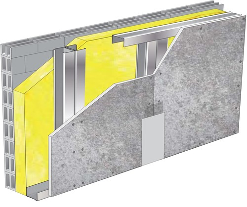 Doublage pour locaux très humides - support parpaing creux 20 cm - 1x Aquaroc® 13 - 2,85m