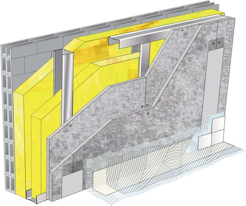 Doublage pour locaux très humides - support parpaing creux 20 cm - 2x Aquaroc® 13 - 3,8m