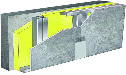 Doublage pour locaux très humides - support béton 16cm - 1x Aquaroc® 13 - 3,65m