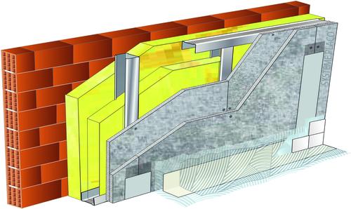 Doublage pour locaux très humides - support brique isolante 20cm - 2x Aquaroc® 13 - 2,75m