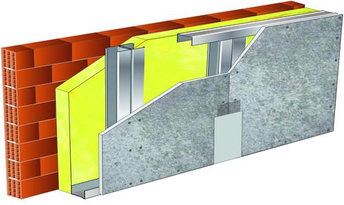Doublage pour locaux très humides - support brique isolante 20cm - 1x Aquaroc® 13 - 3,3m