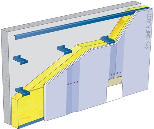 Doublage sur ossature Duo'Tech® Système Mur - support béton 16cm - 1x Placo® Duo'Tech® 19 - 2,7m - isolant 200 mm