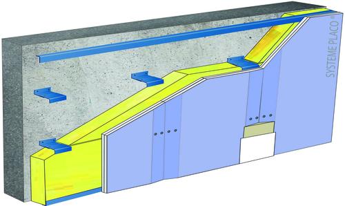 Doublage sur ossature Duo'Tech® Système Mur - support parpaing creux 20 cm - 1x Placo® Duo'Tech® 19 - 2,7m - isolant 28 mm