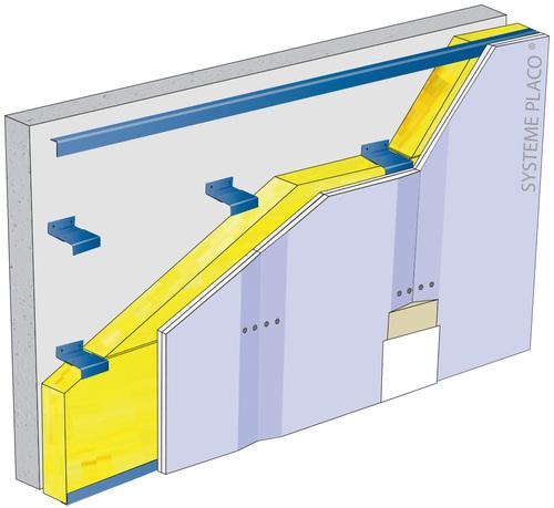 Doublage sur ossature Duo'Tech® Système Mur - support béton 16cm - 1x Placo® Duo'Tech® 19 Marine - 2,7m - isolant 100 mm