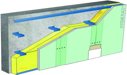 Doublage sur ossature Duo'Tech® Système Mur - support parpaing creux 20 cm - 1x Placo® Duo'Tech® 19 Marine - 2,7m - isolant 100 mm