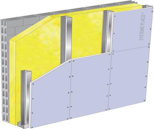 Doublage de grande hauteur High-Stil® - support parpaing creux 20 cm - 1x Placo® Duo'Tech® 25 - 6m