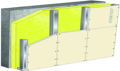 Doublage de grande hauteur High-Stil® - support béton 16cm - 1x Placoplatre® BA25 - 4,7m
