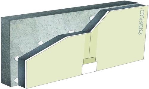 Complexes de doublage thermique Placomur® - support béton 16cm - Placoplatre® PV BA13 - Up = 0,34 W/m².K - épaisseur 113 mm