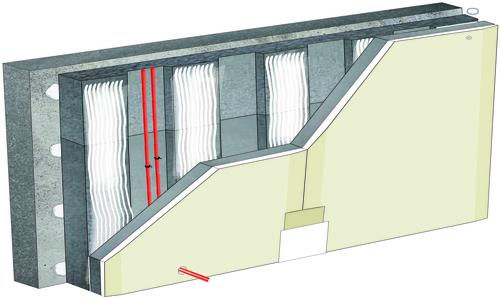 Doublage thermique Placomur® DuoPass - support béton 16cm - Placoplatre® BA13 - Up = 0,28 W/m².K - épaisseur 130 mm
