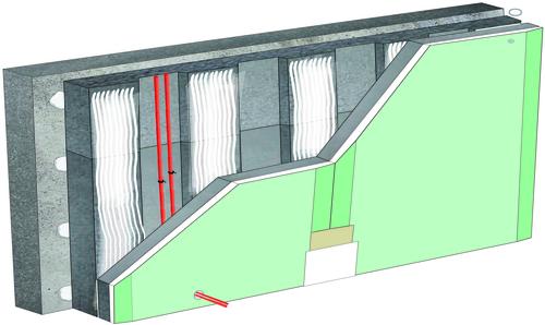 Doublage thermique Placomur® DuoPass - support béton 16cm - Placomarine® BA13 - Up = 0,26 W/m².K - épaisseur 140 mm