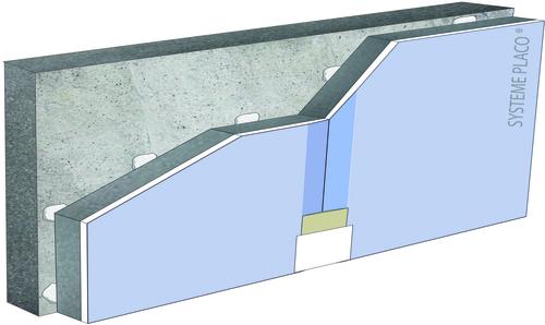 Complexes de doublage thermo-acoustique Doublissimo® - support béton 16cm - pare vapeur - Up = 0,33 W/m².K - épaisseur 93 mm