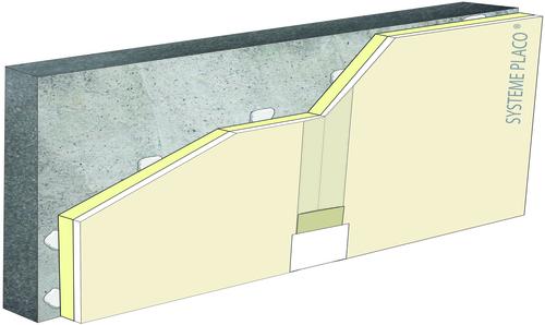 Complexes de doublage thermique Placotherm® + - support béton 16cm - Placoplatre® BA13 - Up = 0,2 W/m².K - épaisseur 113 mm