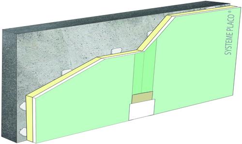 Complexes de doublage thermique Placotherm® + - support béton 16cm - Placomarine® BA13 - Up = 0,17 W/m².K - épaisseur 133 mm