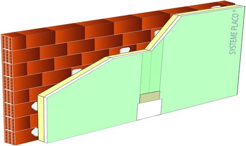 Complexes de doublage thermique Placotherm® + - support parpaing creux 20cm - Placomarine® BA13 - Up = 0,43 W/m².K - épaisseur 53 mm